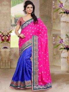 Pink And Blue Poly Viscose Saree With Butta Work www.saree.com