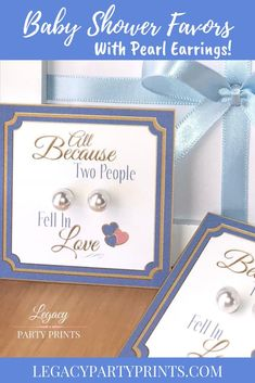 Because Two People Fell In Love Boy Baby Shower Favors With White Pearl Earrings Baby Shower Parties, Baby Shower Themes, Baby Boy Shower, Baby Shower Decorations, Shower Ideas, Bridal Shower Favors, Baby Shower Invitations, Unique Party Favors, People Fall In Love
