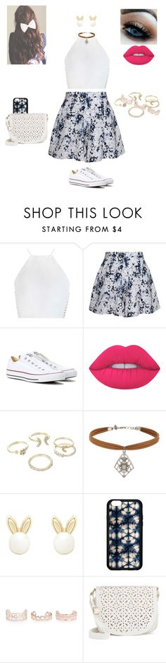 """Girly summer outfit"" by treasurematlock ❤ liked on Polyvore featuring Zimmermann, Olive + Oak, Converse, Lime Crime, Lipsy, Miss Selfridge, New Look and Under One Sky"