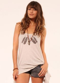 'Feathers' Flow Tank Dress with Pockets