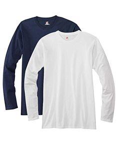 Hanes mens 4.5 oz. 100% Ringspun Cotton nano-T Long-Sleeve T-Shirt(498L)-DEEP RED/WHITE-S - http://www.darrenblogs.com/2016/12/hanes-mens-4-5-oz-100-ringspun-cotton-nano-t-long-sleeve-t-shirt498l-deep-redwhite-s/