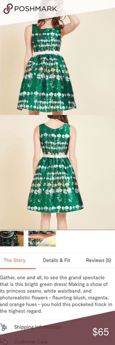ModCloth Emerald green floral dress Floral green dress via ModCloth  Price firm Modcloth Dresses