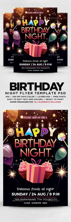Birthday Night Party Flyer Party flyer, Night parties and Flyer - birthday flyer template