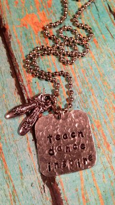 teach dance inspire Hand Stamped Dance Teacher Necklace with Ballet Slippers Charm Dancer  Hand Crafted Metal Jewelry. $19.00, via Etsy.