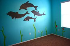 Under the sea room with dolphins, seaweed and Nemo characters