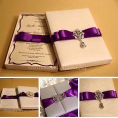 Shades of white, Ivory and purple   See more at www.boxedweddinginvitations.com  #wedding #invitation #purple #bride