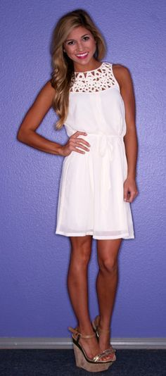 White dress with neck detailing Take a look at the web site for 5 ideal style by using white colored outfit