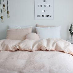 This beautiful washed coral pinkish linen bedding set is made with 70% of natural linen and 30% of cotton. The linen is of high-quality that has been anti-micro dusted and washed for softening. Its light to the touch and will become softer as it ages. The beautifully washed blush color gives a vintage sense to it and romantic vibe every time you lie on it. The duvet cover can be used by itself for summer or inserts can be added in winter. These come with hidden zipper closures. Linen…
