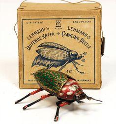 Victorian era Lehmann lithograph running beetle toy