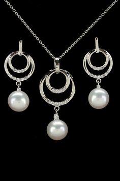 Splendid Pearls 8-9mm Freshwater Pearl & Cubic Zirconia Set In White - Beyond the Rack