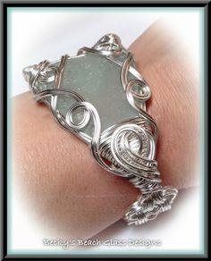 Big & Bold Light Aqua/Sea Foam Beach Glass Bracelet, $88.00
