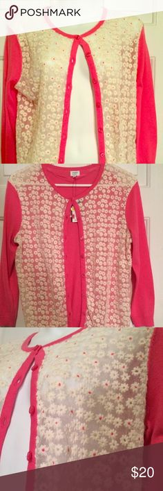 🆕 Crown and Ivy Floral Pink White Lace cardigan New with tags beautiful crown and ivy cardigan women's size medium. Great transition piece for spring.  Measurements laying cardigan flat: Pit to pit: 19 in  Full length: 23 in Crown and Ivy Sweaters Cardigans
