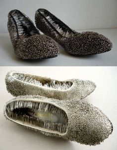 """Pinned Shoes from Erwina Ziomkowska """"consist of 2 kilograms of pins"""". Vas-y, souffre ! Wierd Shoes, Crazy Shoes, Fashion Art, Fashion Shoes, Halloween Accessories, Halloween Shoes, Only Shoes, Love Craft, Shoe Art"""