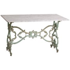 French Cast Iron Marble-Topped Table, circa 1890 | From a unique collection of antique and modern tables at https://www.1stdibs.com/furniture/tables/tables/