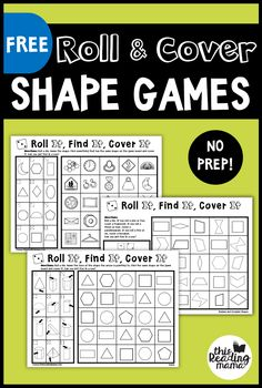 Looking for some NO PREP Shape Games? You're in the right place! In this pack, you'll find eight FREE games for and shapes. This pack is a part of my No Prep Math Games Series. *This post… Shape Activities Kindergarten, 3d Shapes Activities, Preschool, 2d Shape Games, Shape Games For Kids, Maths Guidés, Geometry Games, Free Math Games, Math Tubs