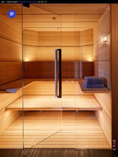 Steam room / Sauna for Malibu house. Planks of hemlock line the sauna; the towels are by Frette. Portable Steam Sauna, Sauna Steam Room, Sauna Room, Steam Bath, Steam Spa, Best Infrared Sauna, Modern Saunas, Sauna Kits, Sauna Design