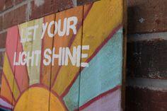 wood pallets art | Wooden Sign Pallet Art Let Your Light Shine by SaltAndLightDesigns