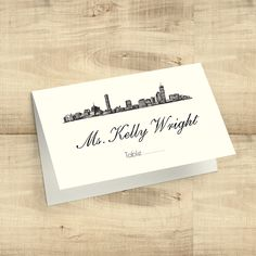 City Skyline Tented Escort Cards/Placecards; Austin, Boston, Chicago, Dallas, Houston, Las Vegas, Los Angeles, Miami, Charleston & more by PixieChicago on Etsy https://www.etsy.com/listing/294148787/city-skyline-tented-escort