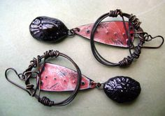 Eco Friendly-Recycled Tin- Ceramic Drops-Wire Wrapped-Assemblage-Rustic-Hoop Earrings-by Anvil Artifacts  $48.00