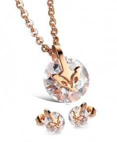 Cheap Rose Gold Plated Fox Zircon Pendant Necklace/Stud Earrings For Big Sale!Rose Gold Plated Fox Zircon Pendant Necklace, made of stainless steel, with IP rose gold plating, shiny zircon, which is inlaid but not pasted. Cute Necklace, Necklace Sizes, Simple Necklace, Gold Plated Necklace, Diamond Pendant Necklace, Gold Necklaces, Crystal Pendant, Crystal Jewelry, Fox Jewelry