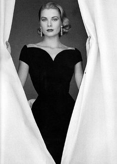 Grace Kelly (love the neckline on her LBD ... little black dress)