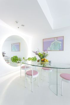 apartment is what she likes to call the Ho Haus, a playful iteration based on her husband's last name. 80s Interior Design, Pastel Interior, Interior Decorating, Pastel House, Pastel Decor, Aesthetic Room Decor, Apartment Interior, Office Interiors, Home Decor Inspiration