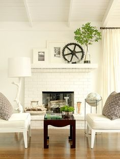 white brick fireplace mantel