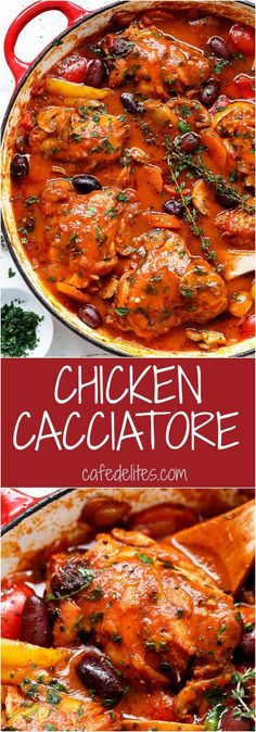 Slow Cooked Chicken Cacciatore - With chicken falling off the bone in a rich and rustic sauce is simple Italian comfort food at its best.