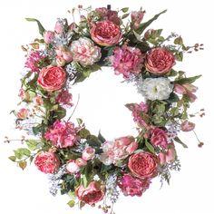 Pink Cabbage Rose Spring / Summer Wreath (SW802)