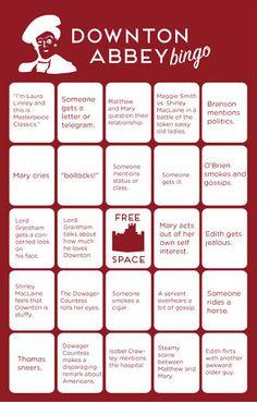 Downton Abbey Addicts: Downton Abbey Bingo
