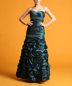 Look what I found on #zulily! Teal Green Beaded Ruffle-Tier Strapless Gown #zulilyfinds
