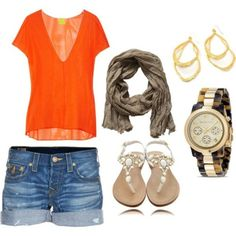 great easy look. I miss Summer!! CAbi this outfit!  Sunset Tank, Lou Short and cute beaded sandals!  Add the Limited Edition scarf to ramp it up!