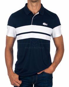 Polo Lacoste - Azul Marino y Blanco Roland Garros Shirt Sale, T Shirt, Lacoste Polo Shirts, Men's Wardrobe, Mens Fashion, Fashion Outfits, Online Shopping Clothes, Printed Shirts, Shirt Designs