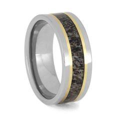Deer Antler Wedding Band With Yellow Gold, Titanium Ring-3647