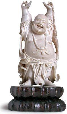 Antique Chinese Ivory Statue of Happy Buddha Namaste Art, Sculpture Clay, Buddha Sculpture, Buddha Statues, Chinese Buddha, Buddha Garden, Maitreya Buddha, Losing My Religion, Buddhist Monk