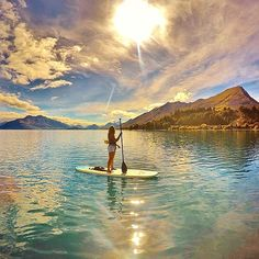 IG's @ wingsofafeather takes a shot of the sun before it dips below the horizon during a SUP outing on Lake Wakatipu. Queenstown, New Zealand. :: Got a great SUP scene to share with the community? Use #outdoorwomen to share on @outdoorwomen's Instagram channel! (Click to see!) :)