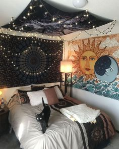 small bedroom ideas that are look stylishly & space saving 22 - Wohnen - Bedroom Decor Room Ideas Bedroom, Bedroom Inspo, Hippy Bedroom, Bedroom Wall, Cheap Bedroom Ideas, Hipster Bedroom Decor, Budget Bedroom, Cozy Bedroom, Vintage Hippie Bedroom