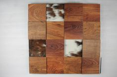 Texas Mesquite Natural with Hair on Hide accents - 3D Block Wall by Woodwright Dallas