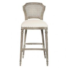 The Chelsea Bar Stool combines French sophistication with American living. Cane back, upholstered seat, and several colors. *Fabric is natural and colors may vary, please call with any fabric color questions* <i>Minimum Required: Counter Stools With Backs, Grey Bar Stools, French Country Bar Stools, Country French, Country Kitchen, French Farmhouse, Country Living, Island Stools, Chelsea