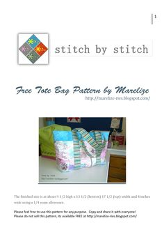 Free Tote bag pattern - add some simple pockets.