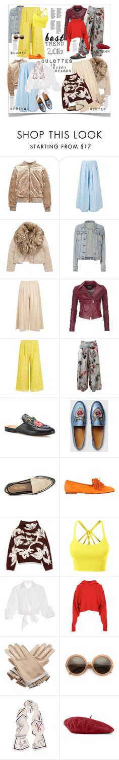 """Best Trend of 2016: Culottes"" by ellie366 ❤ liked on Polyvore featuring Rachel Comey, rag & bone, Dorothy Perkins, Barbour International, ADAM, FUZZI, Gucci, Sol Sana, Aquazzura and Brunello Cucinelli"