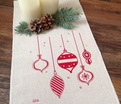 Christmas Table Runner Holiday Table Runner Retro Ornaments Tablescape Red Screen Print Dining Home Decor Entertaining Kitchen Table Scape