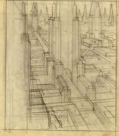 Hugh Ferriss, The Metropolis of Tomorrow (1928) - Hugh Ferriss' architectural sketches, 1915-1961