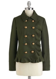 British Breakfast Jacket in Olive, #ModCloth  OMG want. too bad it has wool :( Somebody make me this jacket without wool
