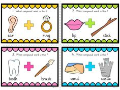 20 COMPOUND WORDS Task Cards (English, SPaG, Spellings)