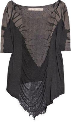 ShopStyle: Raquel Allegra Distressed cotton-jersey T-shirt