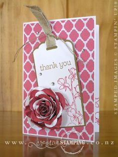 A pretty thank you card using the Happy Watercolor stamp set, Scalloped Tag Topper Punch and Spiral Flower Originals Die, in Strawberry Slush, Baked Brown Sugar and Whisper White.  www.creativestamping.co.nz | Occasions Catalogue