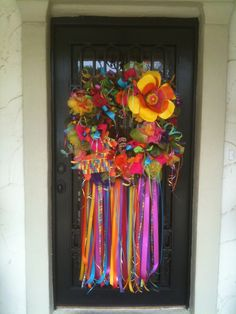 Colorful Fiesta San Antonio Wreath. I love this over the top burst of vivid color!