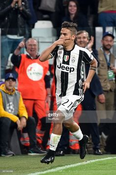 Paulo Dybala of Juventus celebrates scoring first goal during the UEFA Champions League quarter final match between Juventus and Barcelona at the Juventus Stadium, Turin, Italy on 11 April 2017.