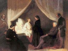 "17 October 1849, Frédéric Chopin died in Paris.  Depicted below is a painting by the Polish Romantic painter Teofil Kwiatowski (1809 – 1891), commissioned by Jane Stirling and probably paid for by Jenny Lind, showing ""Chopin on his deathbed"" and (from left) Aleksander Jełowicki, Chopin's sister Ludwika,Marcelina Czartoryska, née Radziwiłł, Wojciech Grzymała, and Kwiatkowski himself."
